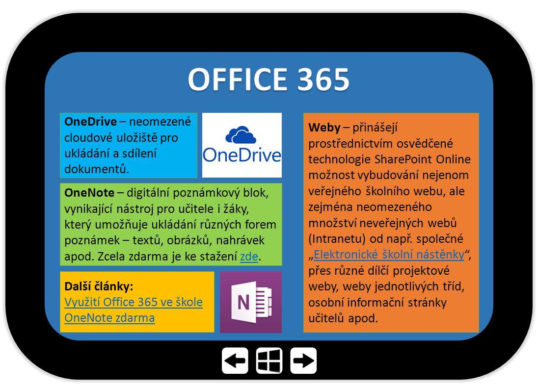 OneDrive – neomezené cloudové uložiště pro ukládání a sdílení dokumentů. OneNote – digitální poznámkový blok, vynikající nástroj pro učitele i žáky, k