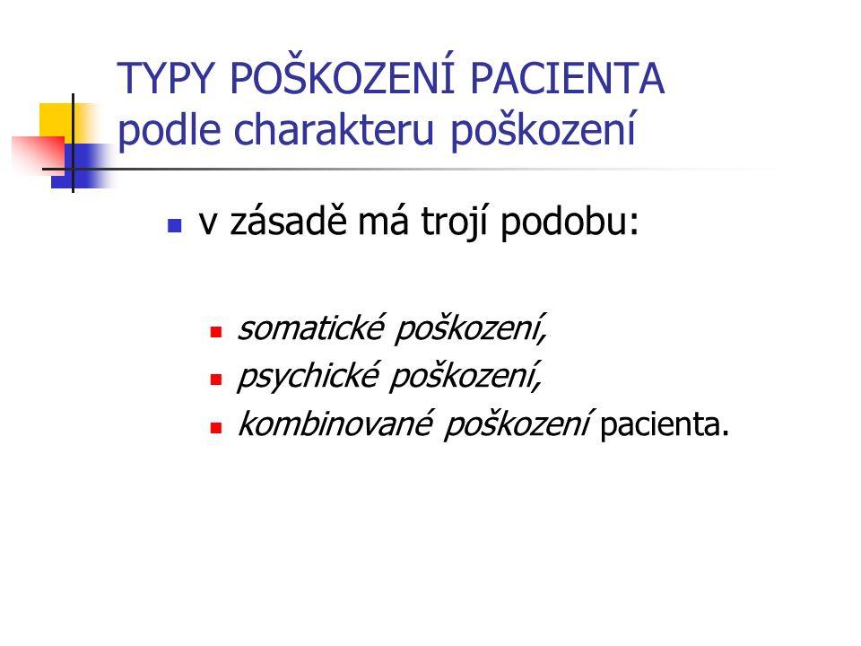 TYPY POŠKOZENÍ PACIENTA podle charakteru poškození v zásadě má trojí podobu: somatické poškození, psychické poškození, kombinované poškození pacienta.