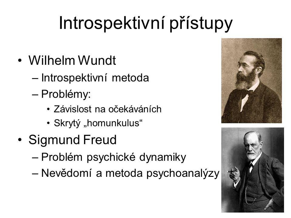 """Introspektivní přístupy Wilhelm Wundt –Introspektivní metoda –Problémy: Závislost na očekáváních Skrytý """"homunkulus Sigmund Freud –Problém psychické dynamiky –Nevědomí a metoda psychoanalýzy"""