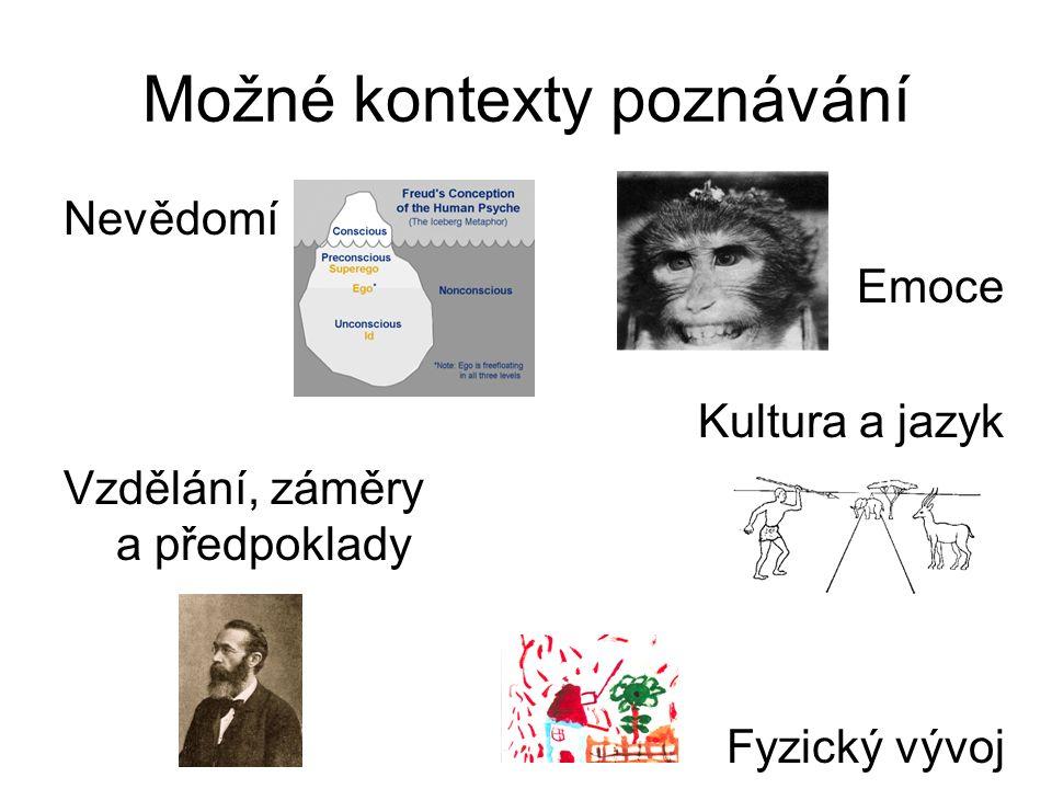 Možné kontexty poznávání Nevědomí Emoce Kultura a jazyk Vzdělání, záměry a předpoklady Fyzický vývoj