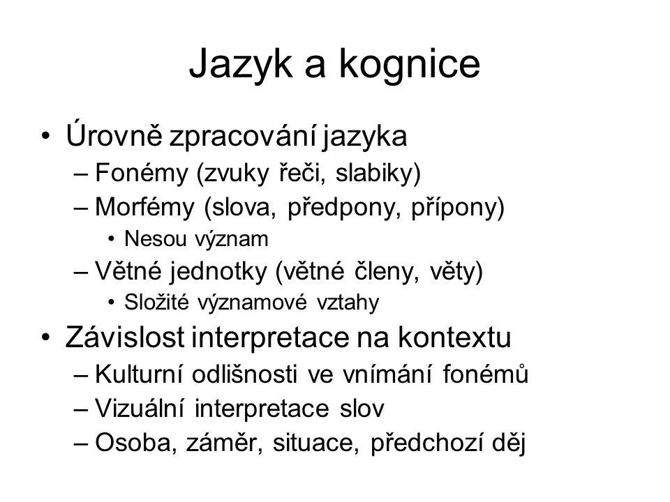 Jazyk a kognice Úrovně zpracování jazyka –Fonémy (zvuky řeči, slabiky) –Morfémy (slova, předpony, přípony) Nesou význam –Větné jednotky (větné členy, věty) Složité významové vztahy Závislost interpretace na kontextu –Kulturní odlišnosti ve vnímání fonémů –Vizuální interpretace slov –Osoba, záměr, situace, předchozí děj