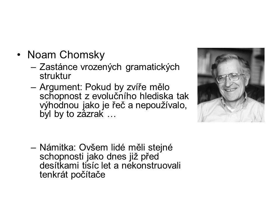 Noam Chomsky –Zastánce vrozených gramatických struktur –Argument: Pokud by zvíře mělo schopnost z evolučního hlediska tak výhodnou jako je řeč a nepoužívalo, byl by to zázrak … –Námitka: Ovšem lidé měli stejné schopnosti jako dnes již před desítkami tisíc let a nekonstruovali tenkrát počítače