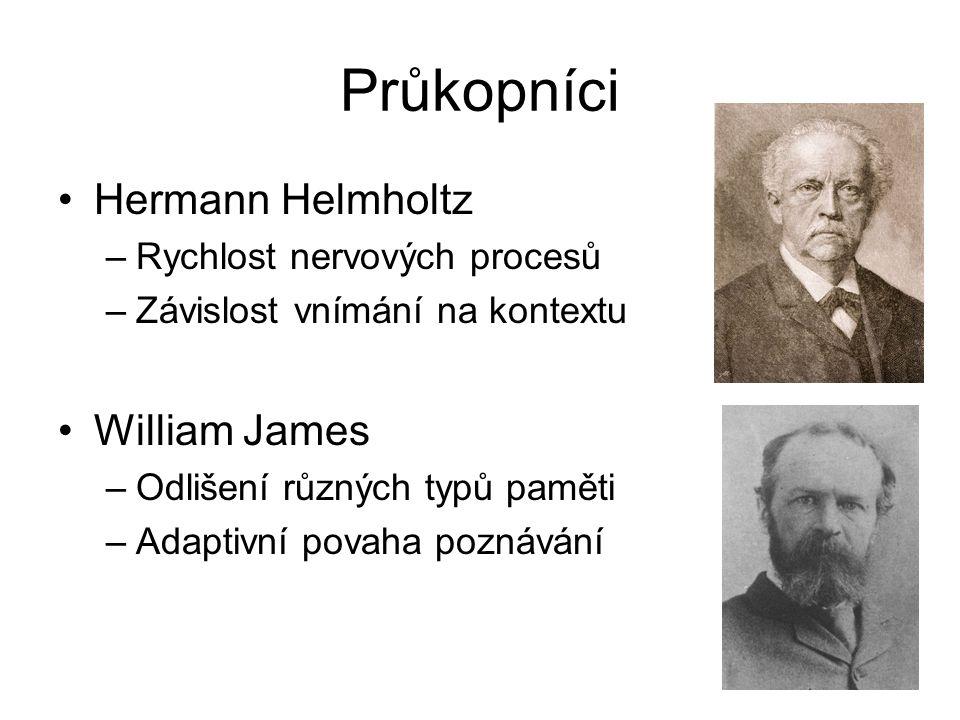 Průkopníci Hermann Helmholtz –Rychlost nervových procesů –Závislost vnímání na kontextu William James –Odlišení různých typů paměti –Adaptivní povaha poznávání