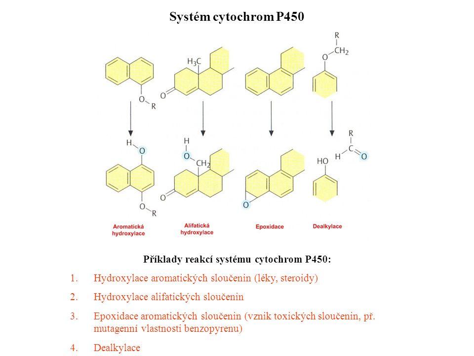 Systém cytochrom P450 Příklady reakcí systému cytochrom P450: 1.Hydroxylace aromatických sloučenin (léky, steroidy) 2.Hydroxylace alifatických sloučenin 3.Epoxidace aromatických sloučenin (vznik toxických sloučenin, př.