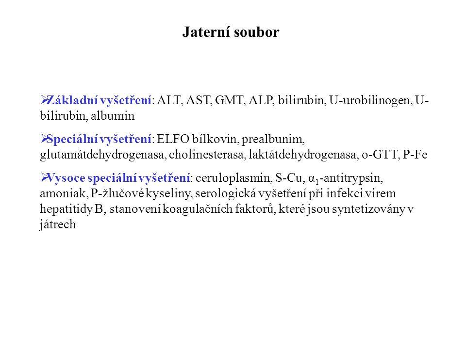 Jaterní soubor  Základní vyšetření: ALT, AST, GMT, ALP, bilirubin, U-urobilinogen, U- bilirubin, albumin  Speciální vyšetření: ELFO bílkovin, prealbunim, glutamátdehydrogenasa, cholinesterasa, laktátdehydrogenasa, o-GTT, P-Fe  Vysoce speciální vyšetření: ceruloplasmin, S-Cu, α 1 -antitrypsin, amoniak, P-žlučové kyseliny, serologická vyšetření při infekci virem hepatitidy B, stanovení koagulačních faktorů, které jsou syntetizovány v játrech