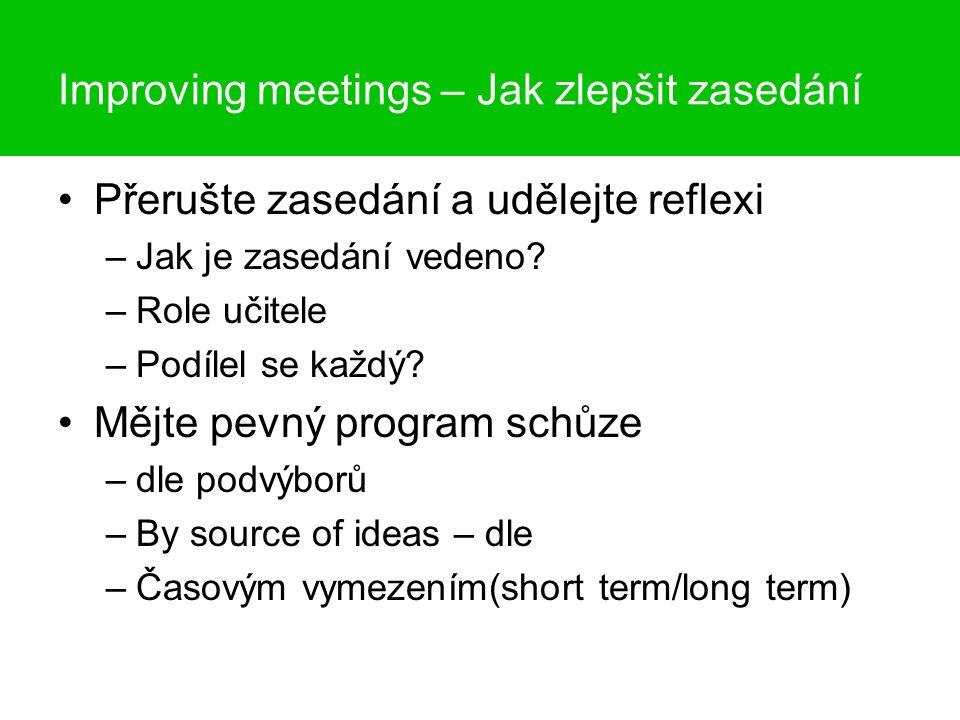 Improving meetings Jak zlepšit zasedání Item - témaDecision - rozhodnutí Action - realizace Who - kdoWhen - kdy - Jen nastínit myšlenku, téma Shodli jsme se, nebo jsme volili.