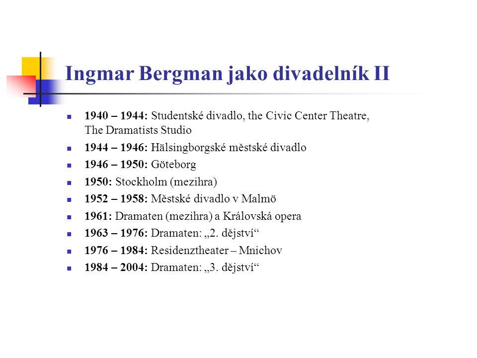 Ingmar Bergman jako divadelník II 1940 – 1944: Studentské divadlo, the Civic Center Theatre, The Dramatists Studio 1944 – 1946: Hälsingborgské městské
