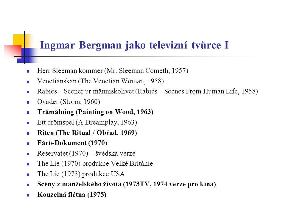 Ingmar Bergman jako televizní tvůrce II Tváří v tvář (1976) De fördömda kvinnornas dans (The Dance of the Damned Women, 1976) Fårödokument 79 (1979) Ze života loutek (1979) Hustruskolan (School for Wives, 1983) Fanny a Alexandr (1984) Efter Repetitionen (After the Rehearsal, 1984) Karins Ansikte (1985) Dva blažení (1986), Dobrá vůle (1991 – Bille August), Nedělňátka (1992 – D.