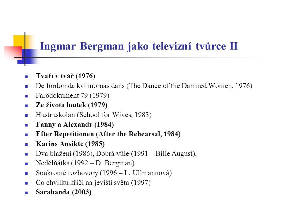 Ingmar Bergman jako televizní tvůrce III Řada Bergmanových televizních filmů byla uvedena také v kinech nebo tyto byly založeny na jeho divadelních inscenacích Zájem o TV se o Bergmana probudil v 50.