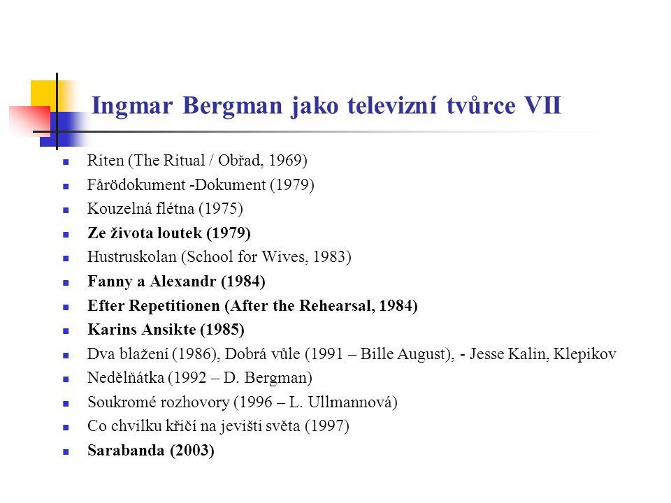 Ingmar Bergman jako divadelník I Mäster Olofsgården (1938 – 1940) - debut divadelního režiséra Již na gymnáziu se Bergman živě zajímal o Strindberga S podporou Svena Hanssona ze slavného knihkupectví Sandberg vedl po dva roky amatérské divadlo v jedné z budov v chudé části města (na jeho návrh jej divadelní rada jmenovala režisérem) Bergman neměl žádné formální vzdělání (aby si dodal vážnosti přes svými mladými kolegy a herci a vypadal starší, koupil si brýle se silnými obroučkami) Důležitější však je, že si naordinoval přísný a intenzivní pracovní a učební režim Tvrdé požadavky na herce, ostrý jazyk a značný temperament – pověst démonického režiséra až do 80.