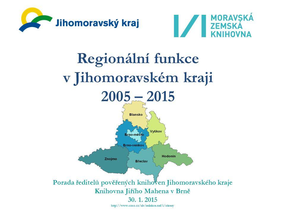 Regionální funkce v Jihomoravském kraji 2005 – 2015 Porada ředitelů pověřených knihoven Jihomoravského kraje Knihovna Jiřího Mahena v Brně 30.