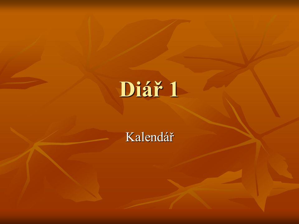 Diář 1 Kalendář