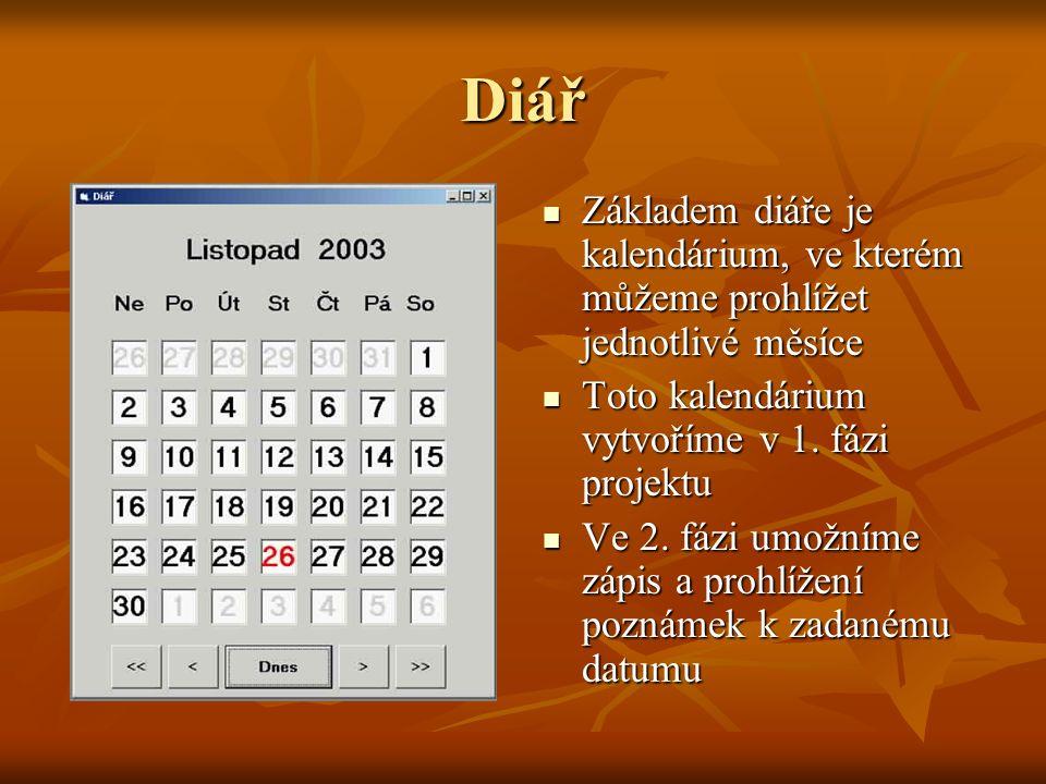 Diář Základem diáře je kalendárium, ve kterém můžeme prohlížet jednotlivé měsíce Základem diáře je kalendárium, ve kterém můžeme prohlížet jednotlivé měsíce Toto kalendárium vytvoříme v 1.