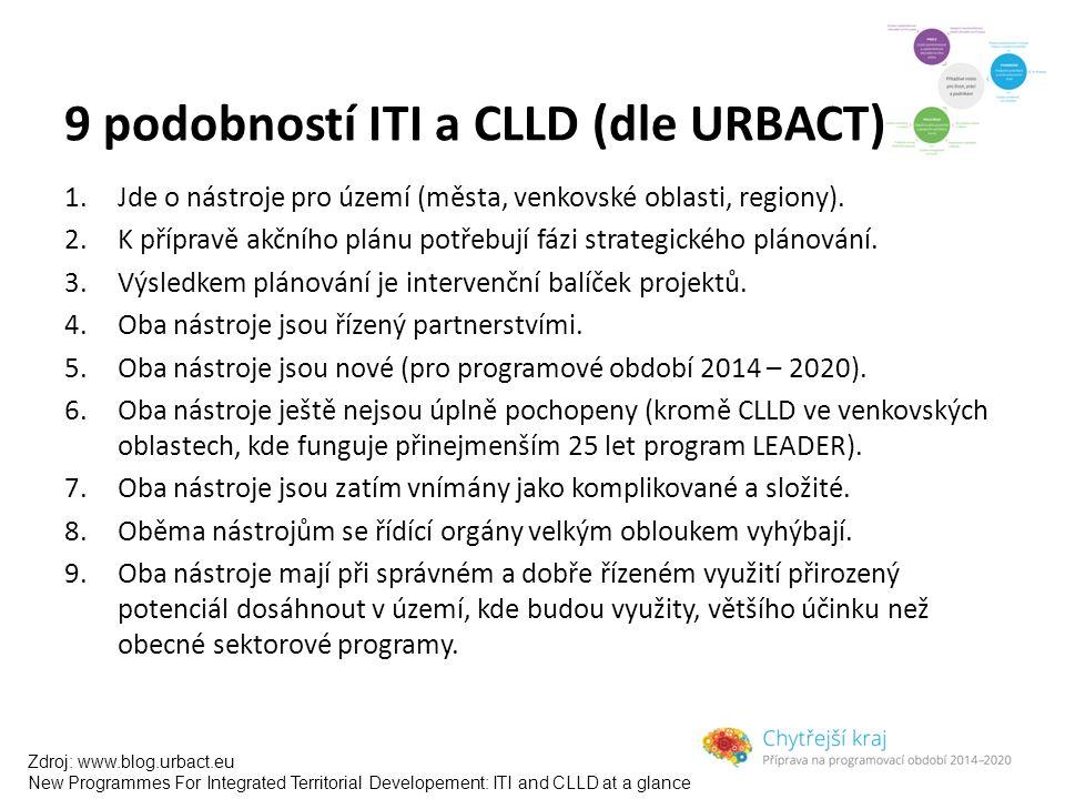 9 podobností ITI a CLLD (dle URBACT) 1.Jde o nástroje pro území (města, venkovské oblasti, regiony). 2.K přípravě akčního plánu potřebují fázi strateg