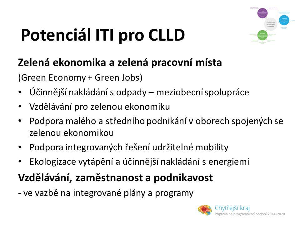 Potenciál ITI pro CLLD Zelená ekonomika a zelená pracovní místa (Green Economy + Green Jobs) Účinnější nakládání s odpady – meziobecní spolupráce Vzdě