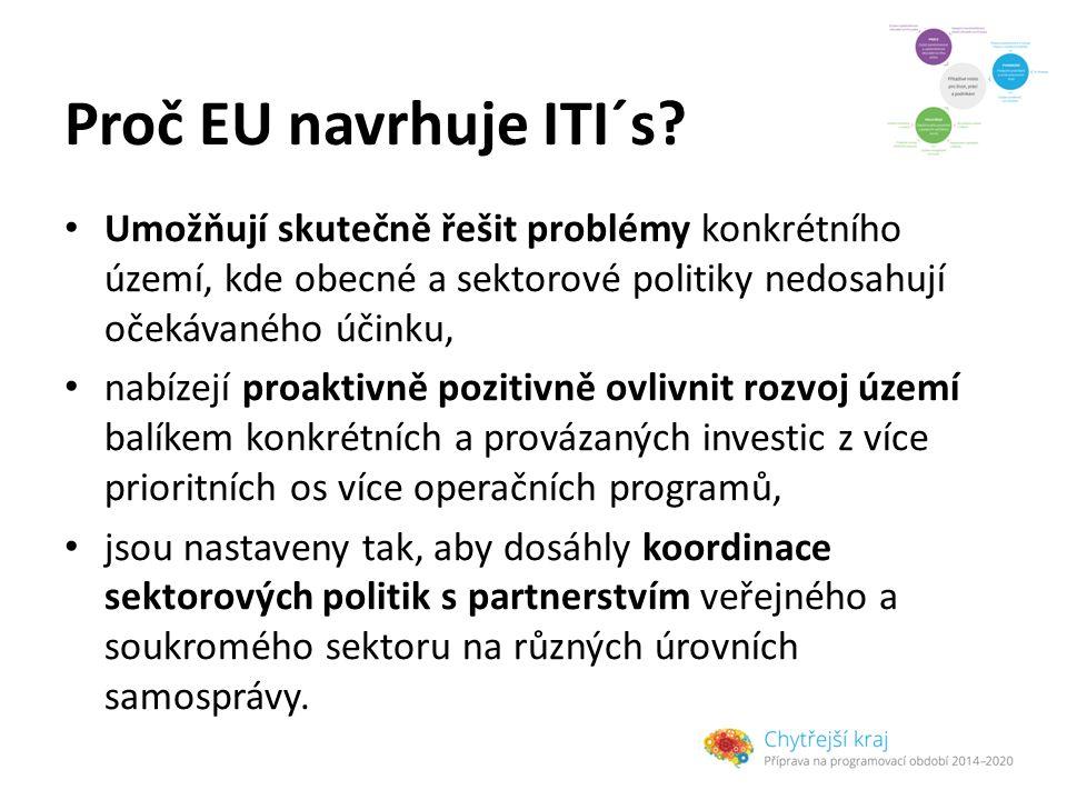 Proč EU navrhuje ITI´s? Umožňují skutečně řešit problémy konkrétního území, kde obecné a sektorové politiky nedosahují očekávaného účinku, nabízejí pr