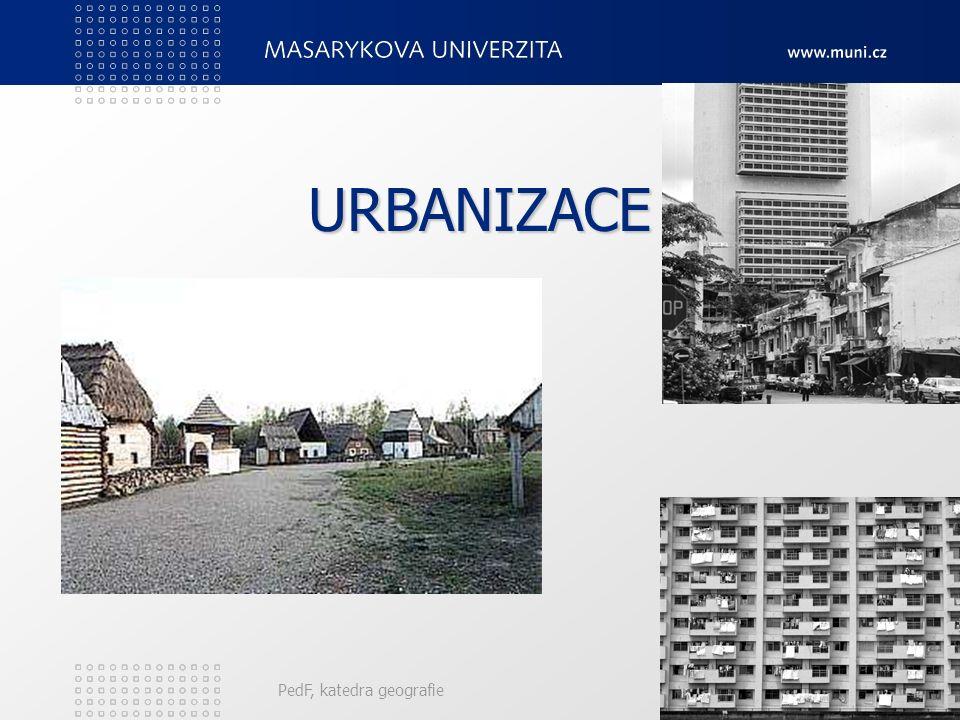 PedF, katedra geografie15 Teorie městských systémů Zaměřuje se na dynamické vlastnosti městských systémů, především nejrůznější růstové impulsy. Rozez