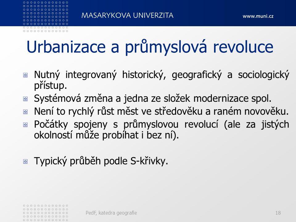 Urbanizace Demograficko- geografický význam (strukturně společenský význam): relativní růst počtu obyvatel žijících ve městech - Přímá urbanizace – hl