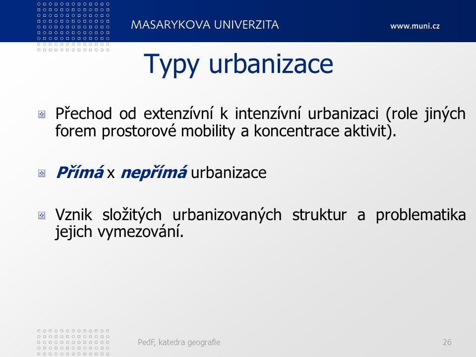 Urbanizace - rysy Městský fenomén zasáhl celý svět. Rychlý plošný růst měst. Vnitřní diferenciace měst. Města jako slabé demografické články osídlení.