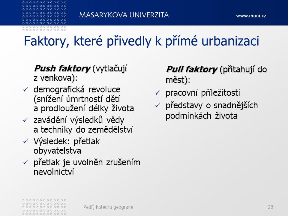 Přímá urbanizace PedF, katedra geografie27