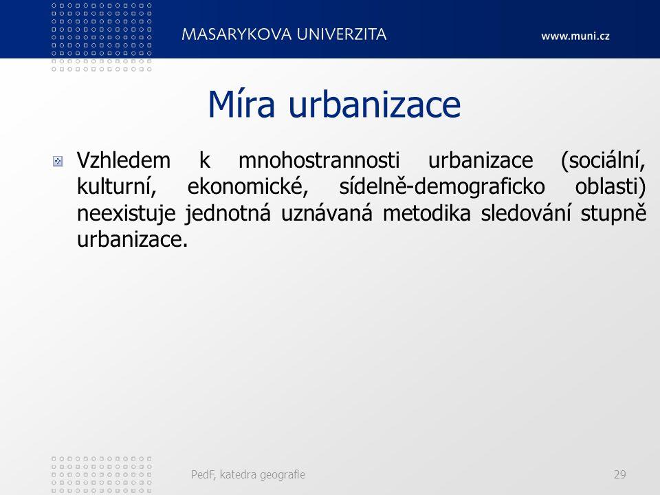 Faktory, které přivedly k přímé urbanizaci Push faktory (vytlačují z venkova): Push faktory (vytlačují z venkova): demografická revoluce (snížení úmrt