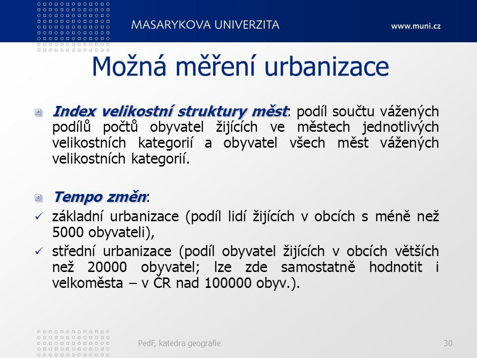 Míra urbanizace Vzhledem k mnohostrannosti urbanizace (sociální, kulturní, ekonomické, sídelně-demograficko oblasti) neexistuje jednotná uznávaná meto