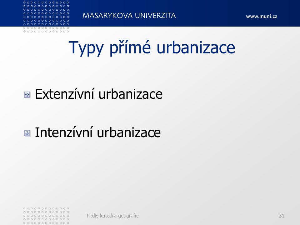 Možná měření urbanizace Index velikostní struktury měst Index velikostní struktury měst: podíl součtu vážených podílů počtů obyvatel žijících ve měste