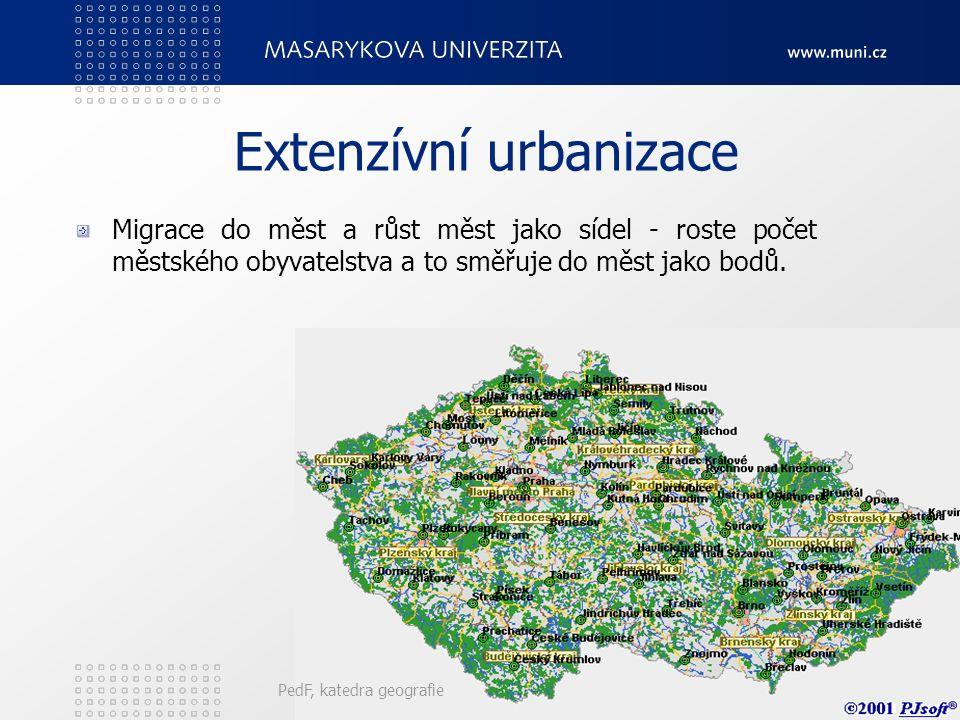 Typy přímé urbanizace Extenzívní urbanizace Intenzívní urbanizace PedF, katedra geografie31
