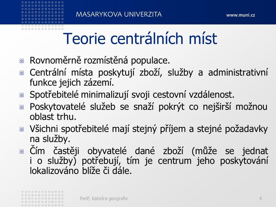 """Německá škola W. Christaller (1933): """"Teorie centrálních míst"""" – výzkum centrality a hierarchie sídel podle různých funkcí pojmy: centrální místo, spá"""