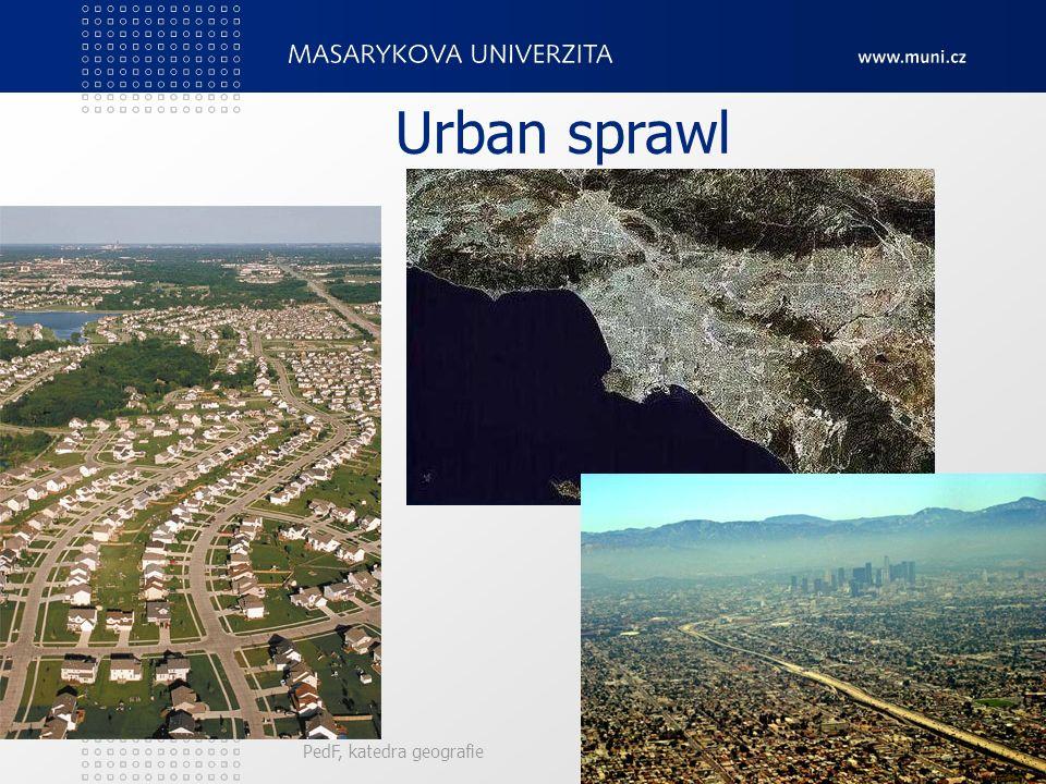 Urban sprawl Forma suburbanizace, kterou je možno považovat za nežádoucí z ekonomického, sociálního i environmentálního pohledu. Sprawl, neboli rozléz