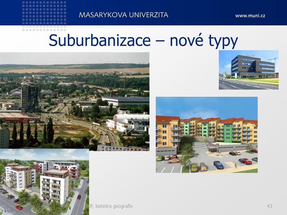 Suburbanizace – nové typy Edge cities – nová komerční či administrativní centra v suburbánu, bez historie, podél komunikačních tras. Master planned co