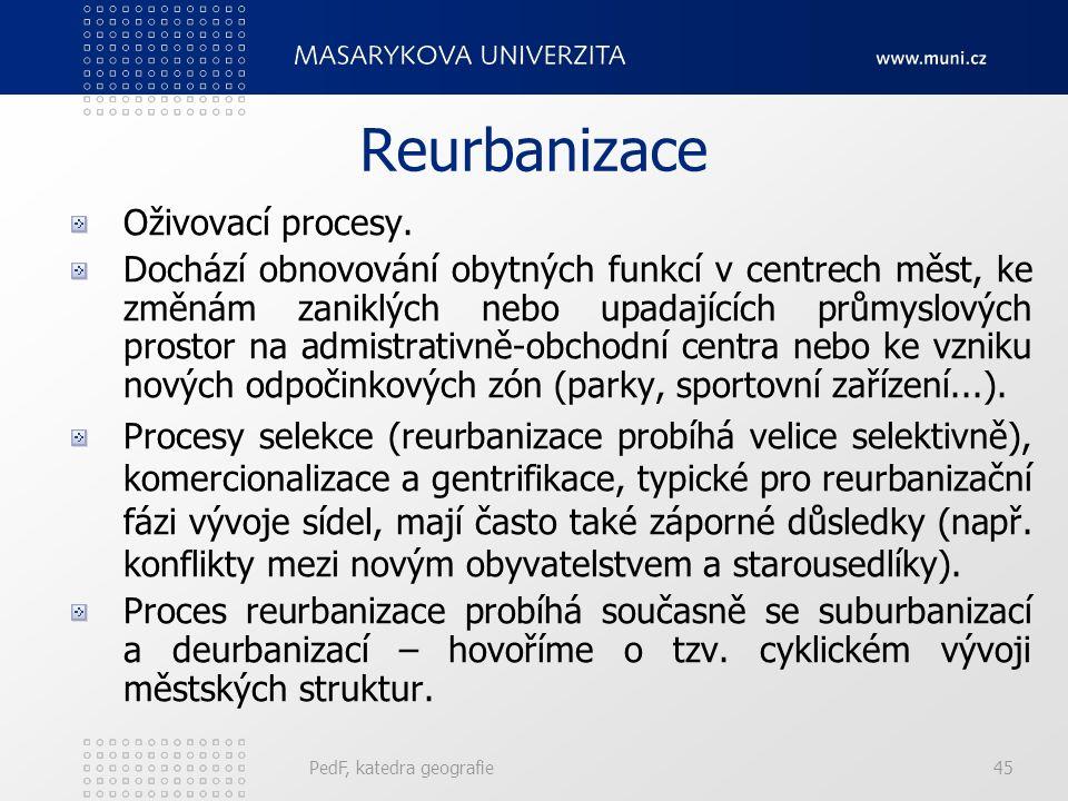 Deurbanizace (desurbanizace) Velké snižování počet obyvatelstva centra města i vnějších městských částí. Obyvatelstvo ubývá jednak díky nižší porodnos
