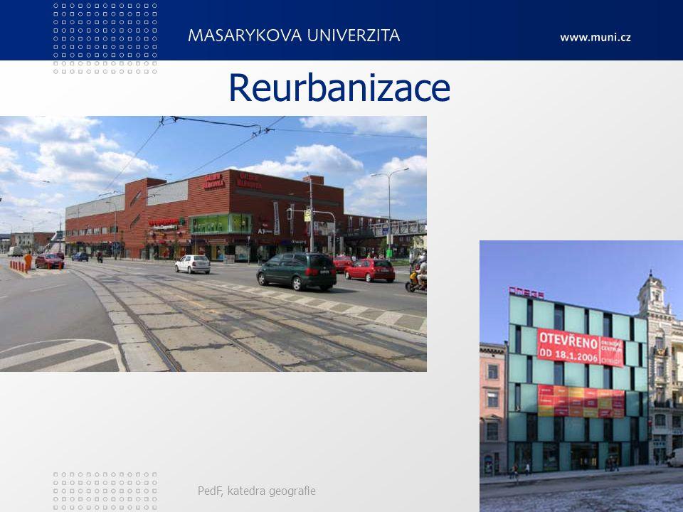 Reurbanizace Oživovací procesy. Dochází obnovování obytných funkcí v centrech měst, ke změnám zaniklých nebo upadajících průmyslových prostor na admis