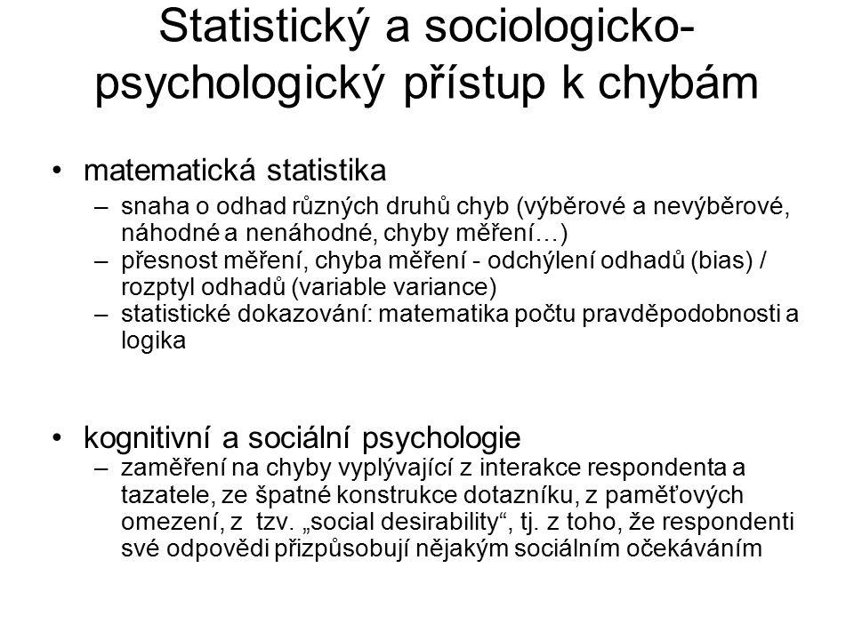 Statistický a sociologicko- psychologický přístup k chybám matematická statistika –snaha o odhad různých druhů chyb (výběrové a nevýběrové, náhodné a nenáhodné, chyby měření…) –přesnost měření, chyba měření - odchýlení odhadů (bias) / rozptyl odhadů (variable variance) –statistické dokazování: matematika počtu pravděpodobnosti a logika kognitivní a sociální psychologie –zaměření na chyby vyplývající z interakce respondenta a tazatele, ze špatné konstrukce dotazníku, z paměťových omezení, z tzv.