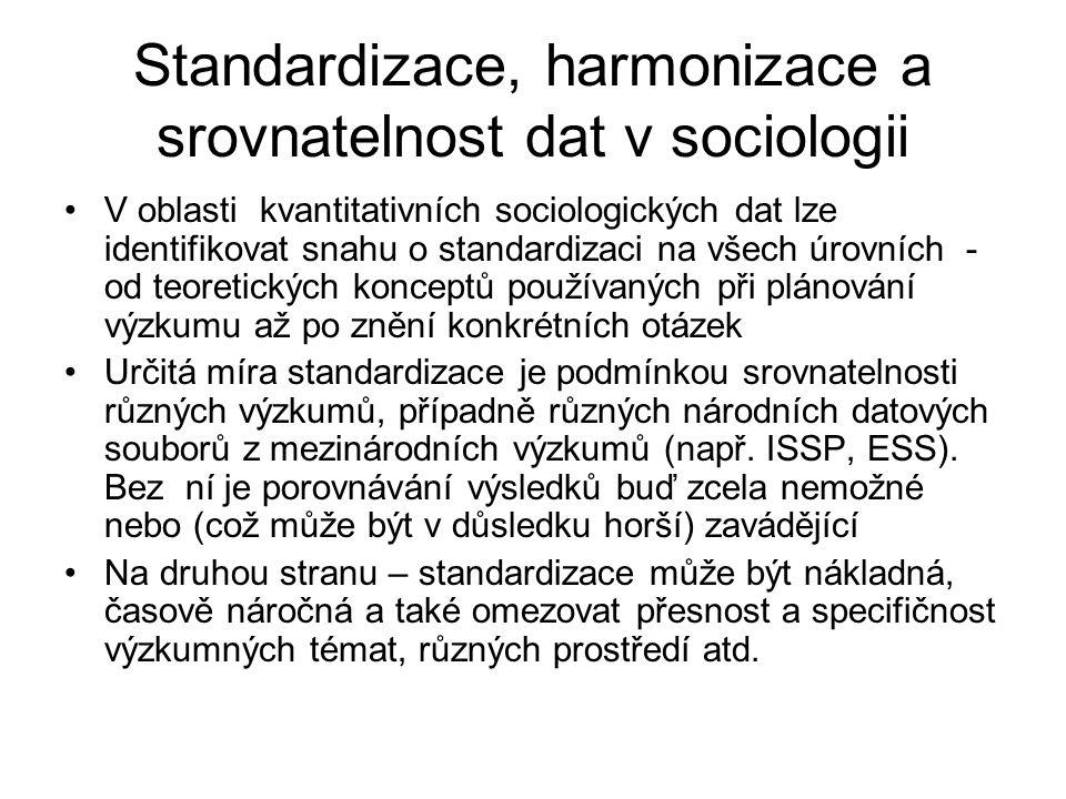 Standardizace, harmonizace a srovnatelnost dat v sociologii V oblasti kvantitativních sociologických dat lze identifikovat snahu o standardizaci na všech úrovních - od teoretických konceptů používaných při plánování výzkumu až po znění konkrétních otázek Určitá míra standardizace je podmínkou srovnatelnosti různých výzkumů, případně různých národních datových souborů z mezinárodních výzkumů (např.