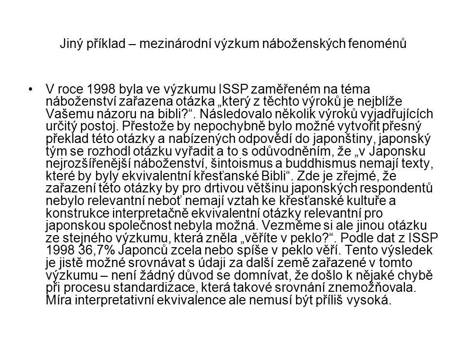 """Jiný příklad – mezinárodní výzkum náboženských fenoménů V roce 1998 byla ve výzkumu ISSP zaměřeném na téma náboženství zařazena otázka """"který z těchto"""