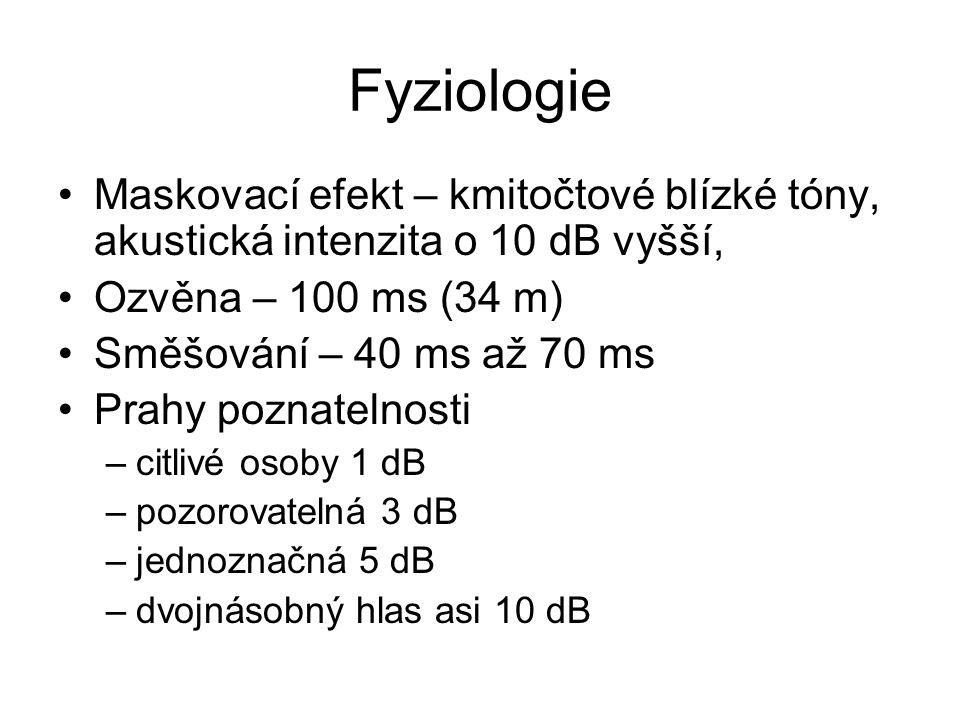 Fyziologie Maskovací efekt – kmitočtové blízké tóny, akustická intenzita o 10 dB vyšší, Ozvěna – 100 ms (34 m) Směšování – 40 ms až 70 ms Prahy poznat