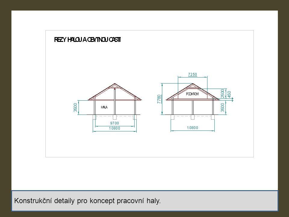 Konstrukční detaily pro koncept pracovní haly.