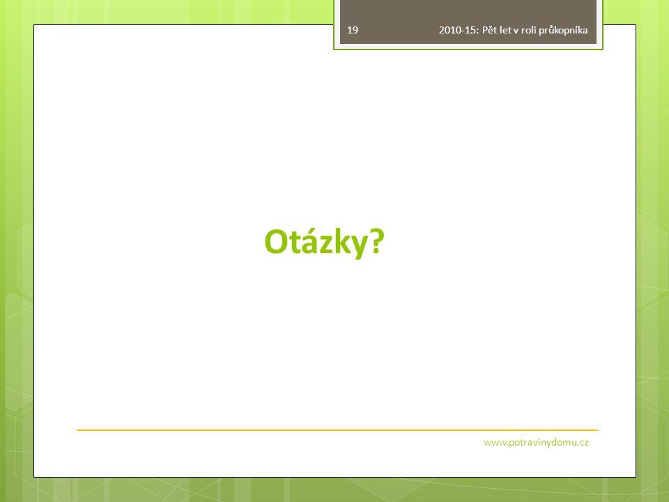 Otázky? www.potravinydomu.cz 19 2010-15: Pět let v roli průkopníka