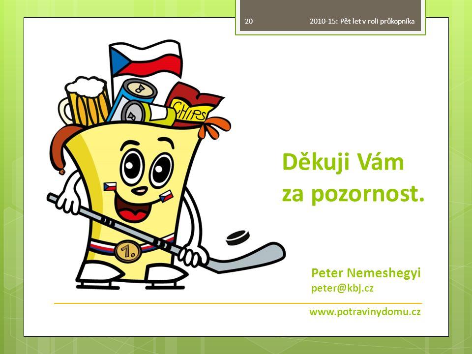 Děkuji Vám za pozornost. www.potravinydomu.cz 20 Peter Nemeshegyi peter@kbj.cz 2010-15: Pět let v roli průkopníka
