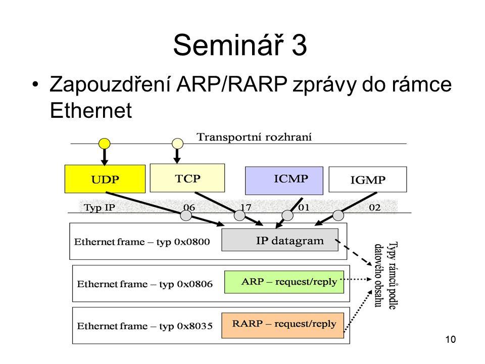 10 Seminář 3 Zapouzdření ARP/RARP zprávy do rámce Ethernet 10