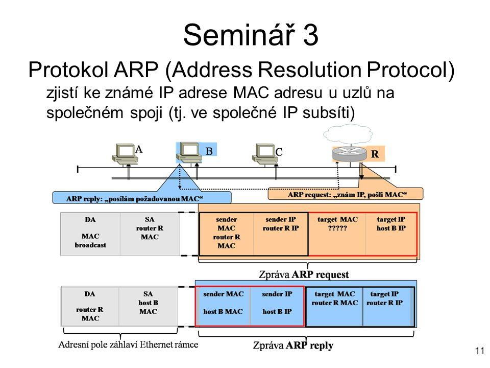 Seminář 3 Protokol ARP (Address Resolution Protocol) zjistí ke známé IP adrese MAC adresu u uzlů na společném spoji (tj. ve společné IP subsíti) 11