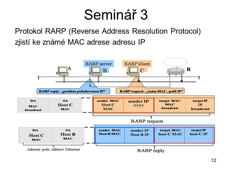 12 Seminář 3 Protokol RARP (Reverse Address Resolution Protocol) zjistí ke známé MAC adrese adresu IP 12