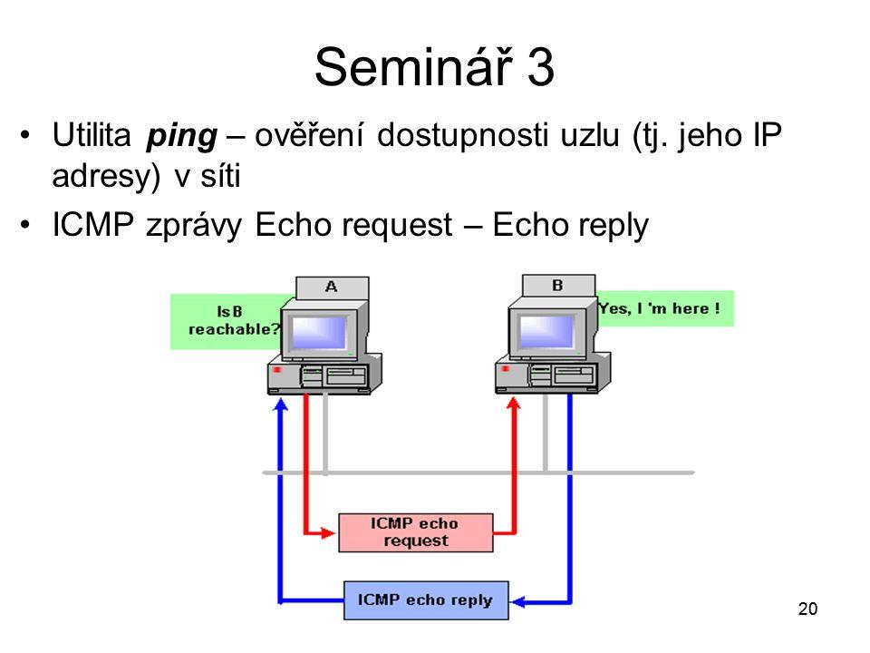 20 Utilita ping – ověření dostupnosti uzlu (tj. jeho IP adresy) v síti ICMP zprávy Echo request – Echo reply 20 Seminář 3