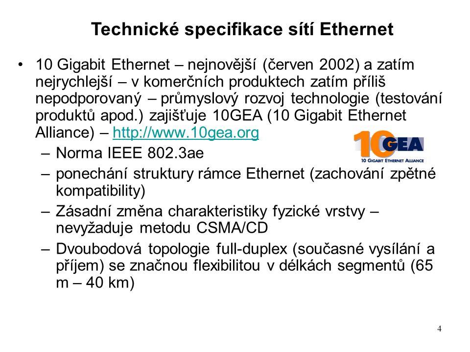 4 10 Gigabit Ethernet – nejnovější (červen 2002) a zatím nejrychlejší – v komerčních produktech zatím příliš nepodporovaný – průmyslový rozvoj technologie (testování produktů apod.) zajišťuje 10GEA (10 Gigabit Ethernet Alliance) – http://www.10gea.orghttp://www.10gea.org –Norma IEEE 802.3ae –ponechání struktury rámce Ethernet (zachování zpětné kompatibility) –Zásadní změna charakteristiky fyzické vrstvy – nevyžaduje metodu CSMA/CD –Dvoubodová topologie full-duplex (současné vysílání a příjem) se značnou flexibilitou v délkách segmentů (65 m – 40 km) Technické specifikace sítí Ethernet