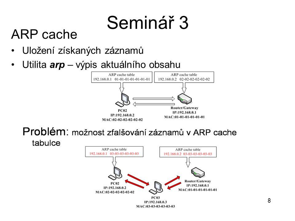 8 ARP cache Uložení získaných záznamů Utilita arp – výpis aktuálního obsahu Seminář 3