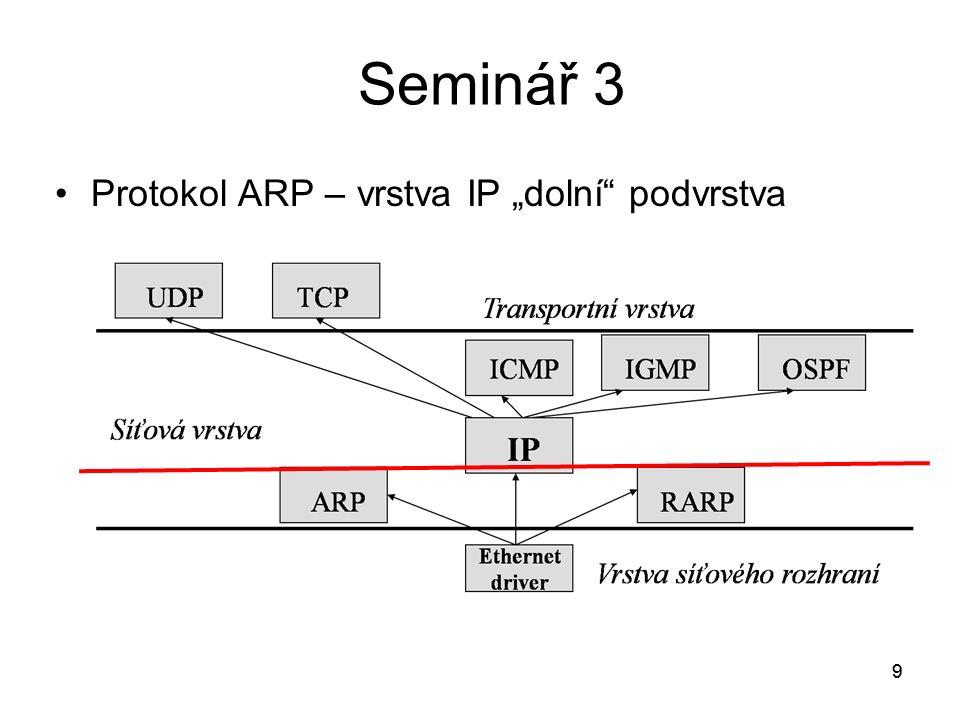 """9 Protokol ARP – vrstva IP """"dolní podvrstva 9"""