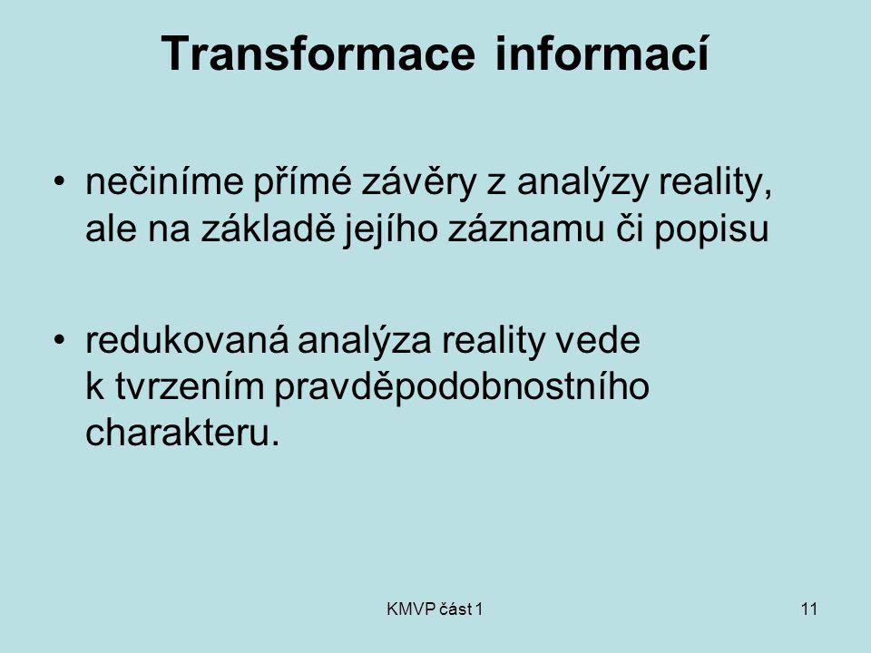 KMVP část 111 Transformace informací nečiníme přímé závěry z analýzy reality, ale na základě jejího záznamu či popisu redukovaná analýza reality vede