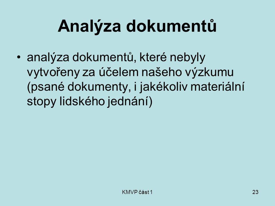 KMVP část 123 Analýza dokumentů analýza dokumentů, které nebyly vytvořeny za účelem našeho výzkumu (psané dokumenty, i jakékoliv materiální stopy lids