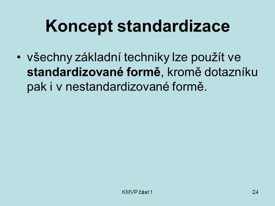 KMVP část 124 Koncept standardizace všechny základní techniky lze použít ve standardizované formě, kromě dotazníku pak i v nestandardizované formě.